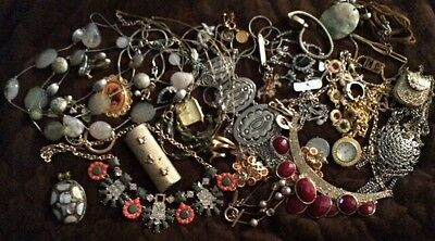 Junk Jewelry Costume Craft Lot Rhinestone Metals Mix Harvest! Vintage To Now
