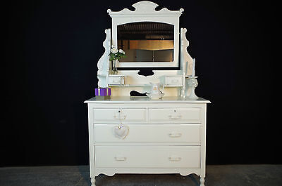 Antique Edwardian Dressing Table Large Drawer Chest New Mirror Glass