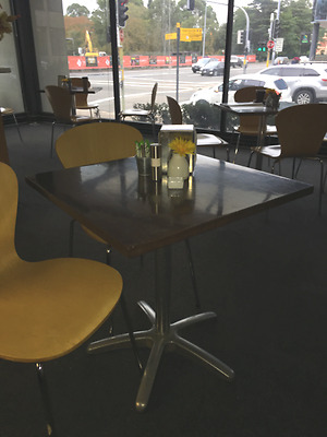 Cafe Tables x 6 - Square timber and steel centre base
