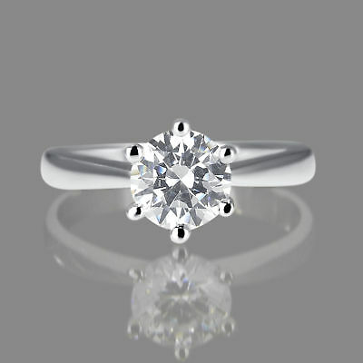 Solitaire 14K White Gold Round Cut Diamond Engagement Ring Enhanced 0.65 CT D/SI