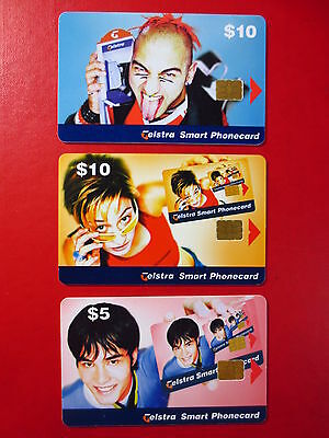 3x Telstra Smart Phonecards, circa 2000, $10, $10 & $5 values, assume USED