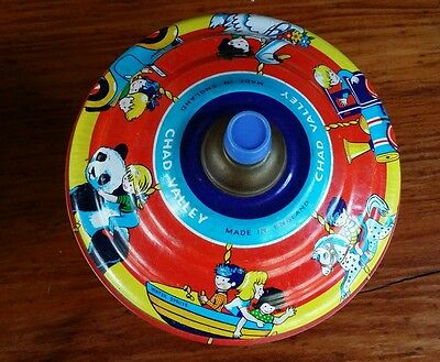 vintage CHAD VALLEY TIN SPINNING TOP MADE IN ENGLAND COLOURFUL KIDS  DECORATED