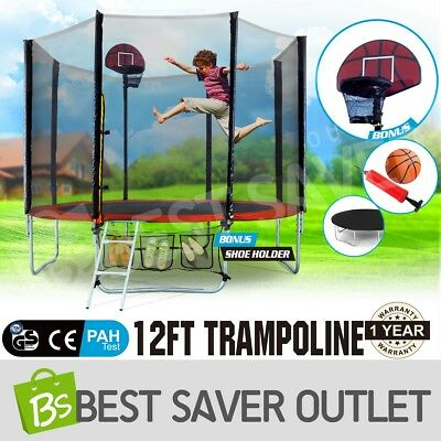 NEW 12ft Round Trampoline FREE Basketball Set+Safety Net+Spring Pad Cover+Ladder