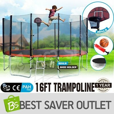 New 16ft Round Trampoline FREE Basketball Set+Ladder+Spring Pad Cover+Safety Net