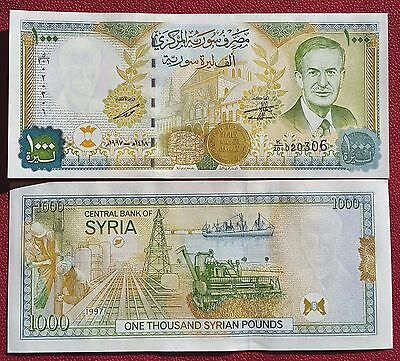SYRIA 1000 Pounds 1997 UNC P-111b with map of Syria on back!!!
