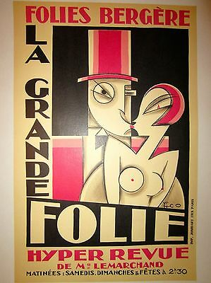 "Vintage French Theater ""Folies Bergere"" Poster on Linen"
