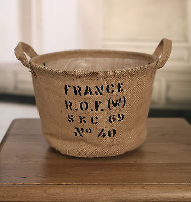 2 x Hessian Storage Tub French Provincial Style Basket Home Decor Gift NEW
