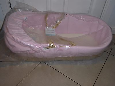 BN Clair de Lune Luxury Padded Naturel Moses Basket with Pink Liner