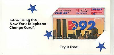 New York Telephone 1992 $1 DNC and Twin Towers Phone Card Mint in Folder