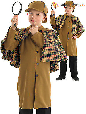 Boys Sherlock Holmes Costume Child Victorian Detective Fancy Dress Book Week Day