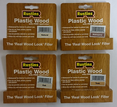 Rustins Plastic Wood Filler with Free Applicator Teak Oak Mahogany Natural Pine