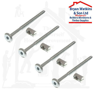 4x m6 x 65mm or 100mm long bed bolts with barrel nuts, cot, cot furniture BZP