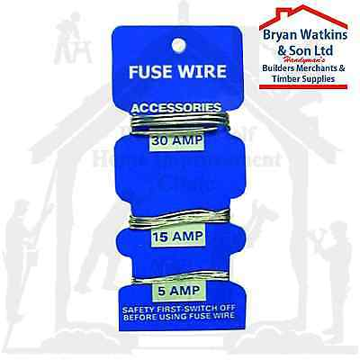 Pack Of 3 Assorted Consumer Fuse Wire - 5, 15 & 30 Amp  Re Wireable Fuses