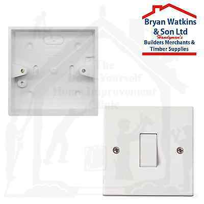 1 Gang Light Switch 1 Way or 2 Way White Plastic 10A Wall Switch With Back Box