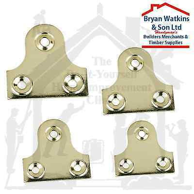 BRASS UNSLOTTED GLASS/MIRROR HANGING PLATE Flat Picture Frame Hanger Bracket