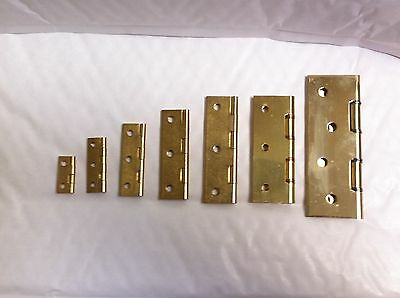2 x Heavy Duty Solid Brass Butt Hinges 25,38,50,63,75 & 100mm DSW Screws Include