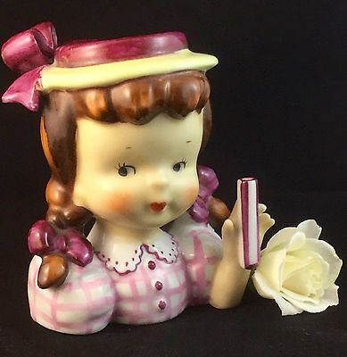 Vintage 1950's Napco Girl Lady Head Vase Retro Collectable Japanese Porcelain
