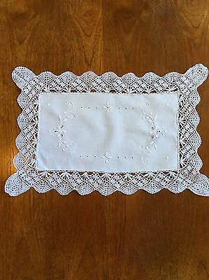 Vintage Hand Crocheted & Embroidered White Doily 39cm Cotton Centrepiece Crochet