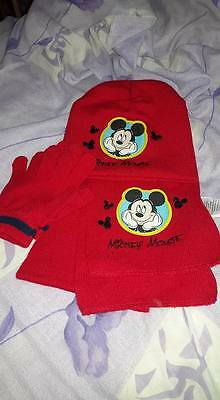 mickey mouse hat scarf and gloves set ONE SIZE