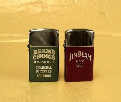 Two Vintage Small Jim Beam Lighters Original Boxes Made In Usa By Park Lighters