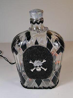 Handmade Unique Lighted Decorated Crown Royal Bottle Skulls and Bones Pirate