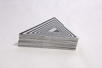 Rare Unusual Triangular Playing Cards - Black + Silver Abstract Cards - VGC