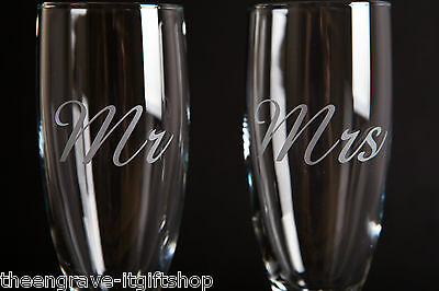 Personalised Champagne Flute Toasting Glasses Weddings, Anniversary Gift Boxed