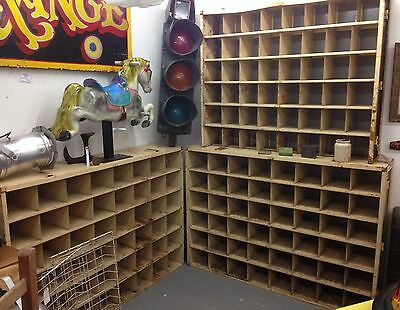 Vintage industrial metal pigeon hole shelving unit, 3 available