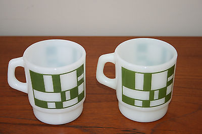 Vintage Anchor Hocking Fire King Mugs Two Green Square & Rectangle Geometric