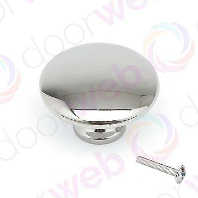 SOLID CHROME KNOB Kitchen Cupboard Cabinet Door Drawer Knobs Pull Mushroom 35mm