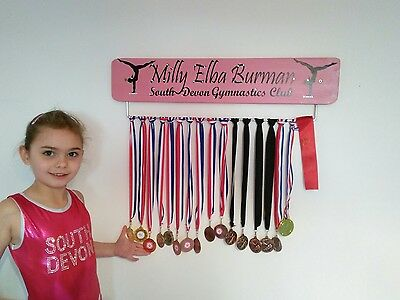 Pink Gymnastic GB Medal Board Hanger Personalised with Jewels 70cm Width