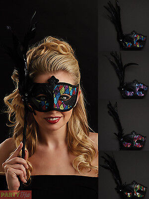 Ladies Masquerade Eye Mask On Stick Womens Venetian Ball Fancy Dress Accessory