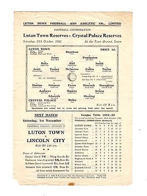 Luton Town v Crystal Palace Reserves Programme 25.10.1952