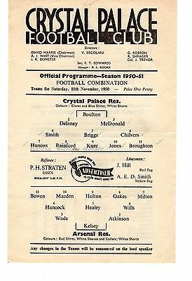 Crystal Palace v Arsenal Reserves Programme 11.11.1950
