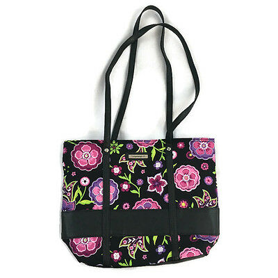 Longaberger Charmed Small Tote Purse Black Pink Purple Floral