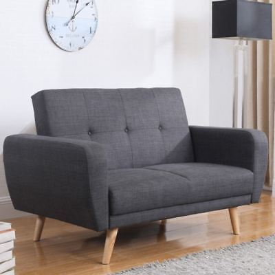 Farrow Grey Fabric Upholstered Guest Sofa Bed Medium Two Seater