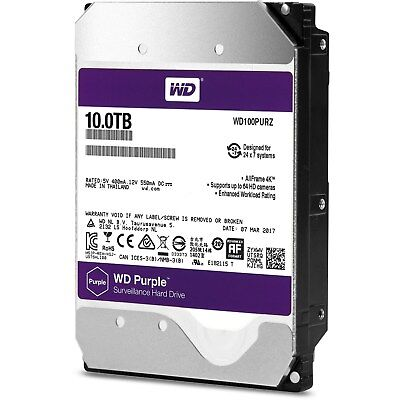 "Western Digital Purple Surveillance 10TB SATA III 3.5"" Hard Drive - 5400RPM"