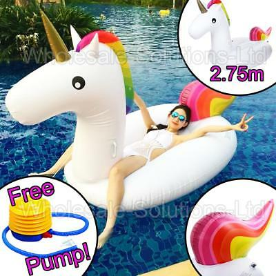 2.75m Giant Inflatable Unicorn Water Float Summer Swim Pool Lounger Beach Fun