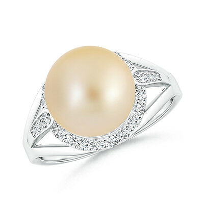 10MM Golden South Sea Cultured Pearl & Diamond Halo Ring 14K White Gold Size 6