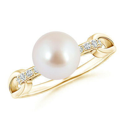 8MM Akoya Cultured Pearl Solitaire Ring with Diamond Loop Link 14K Yellow Gold