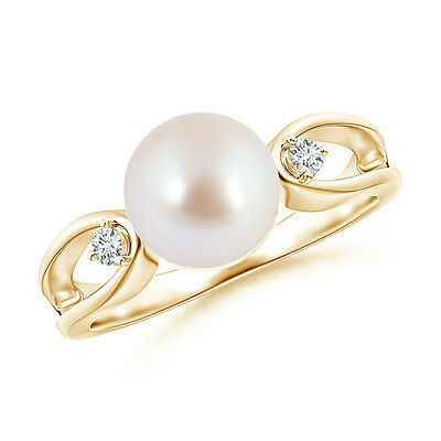 8MM Solitaire Akoya Cultured Pearl Split Shank Ring with Diamond 14K Yellow Gold