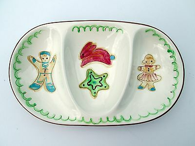 RARE Stangl divided children dish COOKIE TWINS gingerbread boy girl bunny star