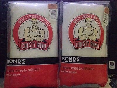 2 X VINTAGE MENS CHESTY BOND ATHLETIC SINGLETS SIZE 20 XL Never Opened