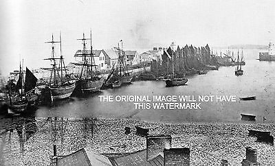 Sailing Ships In Howarth Harbour Co Dublin 1875 Ancestry Vintage Print Mounted
