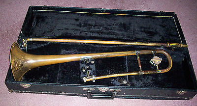 Collegiate Holton Trombone with Case Elk Horn WI Brass Musical Instrument