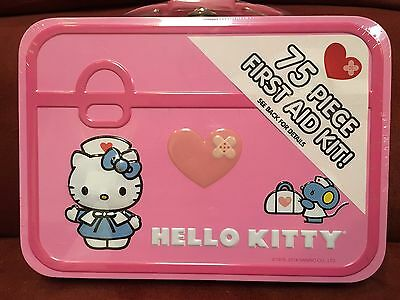 HELLO KITY 75 Piece First Aid Kit In Metal Box New