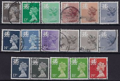 s252) G.B.- Wales. 1980/93. Used. Small Collection of Machins. c£14+.
