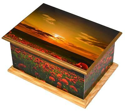 Cremation ashes Urn wood,Funeral Memorial MDF/Teakwood casket poppy sunset adult