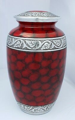 Large Adult Cremation Urn For Ashes Memorial remembrance Red Aluminium Urn