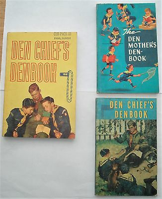 2 Vintage Den Chief's and 1 Den Mother's Denbook...1959 - 1964...Boy Scout Books